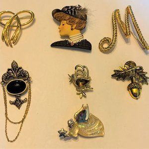 7 PC Pin Brooch Lot Camco Trifari Bergere Mi Gerry